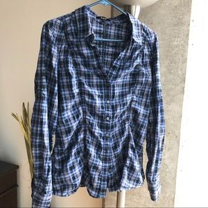 Express Plaid Shirt, L, Black, Blue & Siver